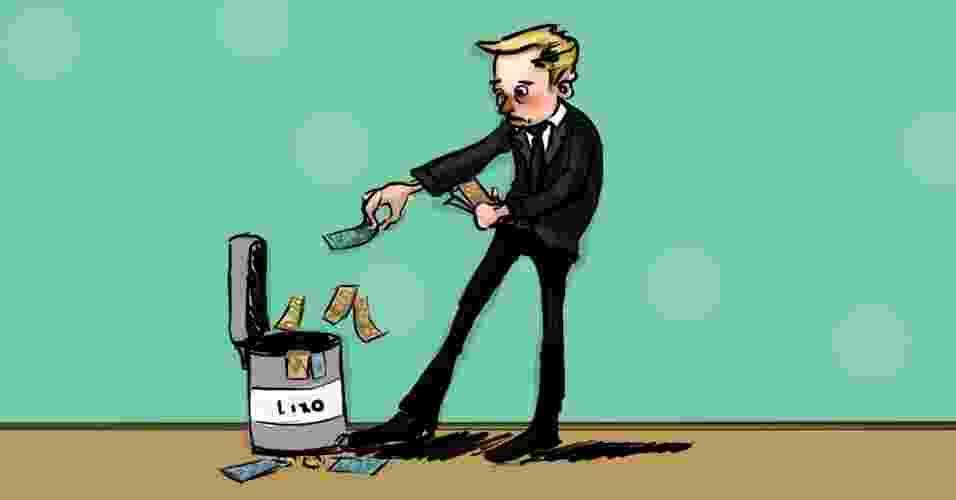 Ilustração para matéria sobre como perder dinheiro; homem joga dinheiro no lixo; homem joga dinheiro fora; dinheiro no lixo; desperdiçar dinheiro; desperdício de dinheiro; perda de dinheiro - Arte/UOL