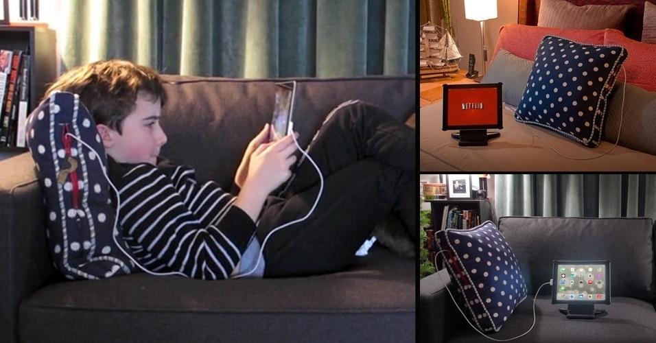 14.jan.2013 - É comum usarmos tablets e e-readers deitados na cama ou no sofá. Mas quando a bateria acaba (e sem ter à disposição uma tomada por perto), temos de interromper a atividade para recarregá-los. A proposta do Power Pillow é justamente evitar esse contratempo: ele vem com duas portas USB que podem ser usadas para dar carga aos seus gadgets. A almofada precisa, no entanto, ser carregada por até 10 horas para atingir o nível máximo de bateria. O Power Pillow está à venda no Kickstarter por US$ 79 (R$ 185) para quem ajudar a financiar o projeto