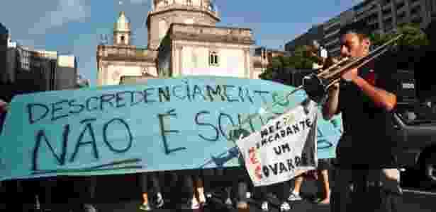 14.jan.2014 - Alunos das Universidade Gama Filho e UniverCidade realizaram protesto no Rio de Janeiro - Ariel Subirá/Futura Press/Estadão Conteúdo