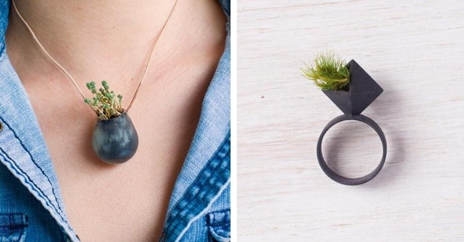 O site 'Wearable Planter' vende acessórios produzidos em impressoras 3D. Os objetos são feitos de forma que o comprador possa plantar pequenos vegetais dentro deles. Estão disponíveis pingentes, pins, anéis e outros formatos que podem ser anexados livremente. Os preços variam entre US$ 8 (cerca de R$ 18) e US$ 50 (cerca de R$ 118)