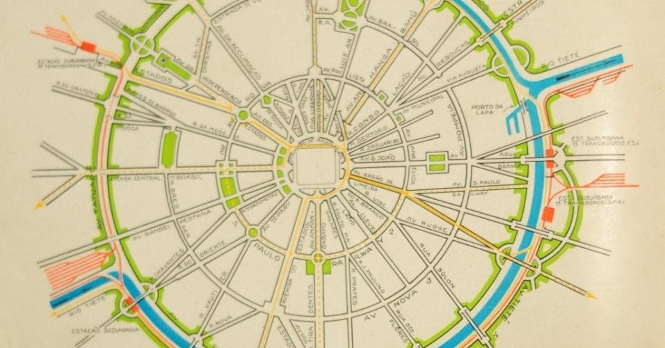 Esquema teórico de São Paulo proposto por Prestes Maia no Plano de Avenidas, de 1930