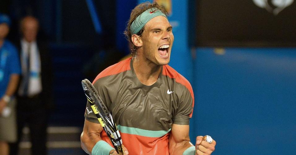 18.jan.2014 - O espanhol Rafael Nadal derrotou o francês Gael Monfils por 3 sets a 0 neste sábado, pela terceira rodada do Aberto da Austrália, e conquistou sua vaga nas oitavas de final do torneio
