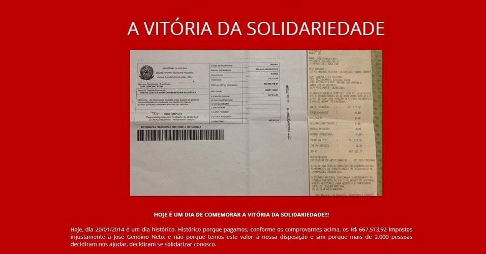 21.jan.2014 - O site criado pelos familiares do ex-presidente do PT José Genoino anunciou que foi paga a multa de R$ 667.513,92 impostos a ele. Mais de 2.000 pessoas contribuíram com R$ 761.962,60, que serão utilizados no pagamento da multa e dos encargos tributários dos estados brasileiros