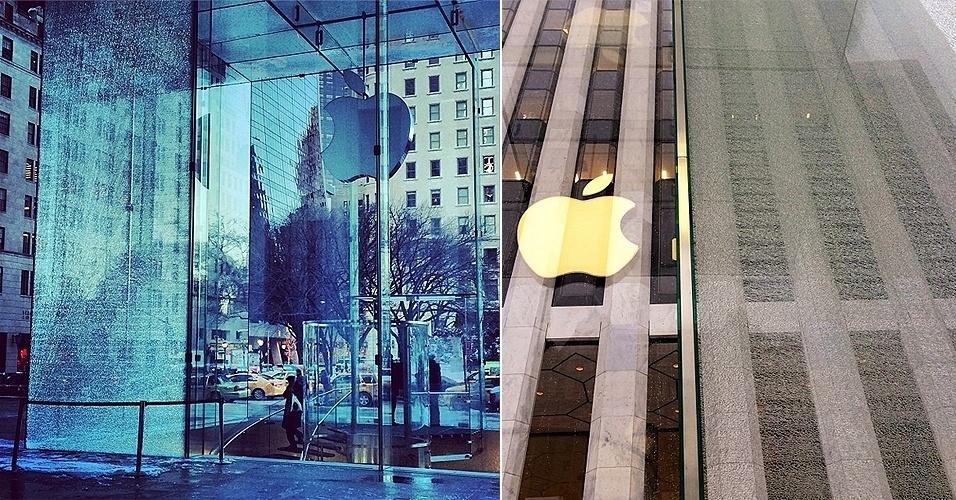23.jan.2014 - Um enorme painel de vidro na loja da Apple na 5ª avenida quebrou. A empresa confirmou ao ?Mashable? que um veículo de limpar neve se chocou contra a estrutura, danificando-a - apesar disso, o estabelecimento continua funcionando normalmente. O ''9to5Mac'' afirma que a Apple gastou US$ 6,7 milhões (R$ 15,9 milhões) para trocar os vidros da loja em 2011, com enormes 15 enormes painéis. Assim, a reposição deve custar cerca de US$ 450 mil (cerca de R$ 1 milhão). Segundo a biografia escrita por ''Walter Isaacson'', Steve Jobs definiu esta como a ''loja que rende mais do que qualquer outra de Nova York''