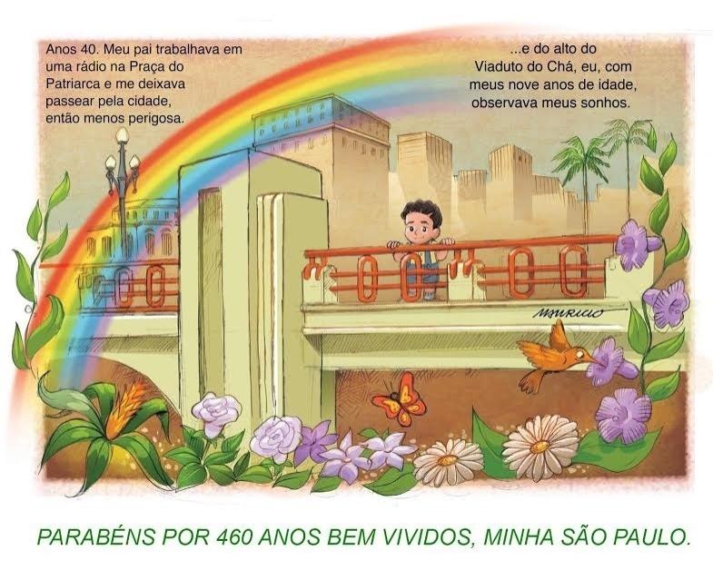 24.jan.2014 - Chargistas fazem homenagem ao 460º aniversário da cidade de São Paulo