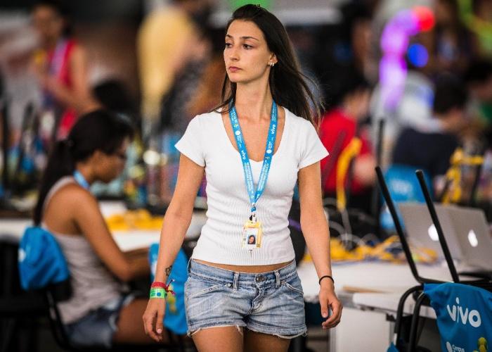 29.jan.2014 - Participante da Campus Party, evento realizado no Parque Anhembi, em São Paulo. Foto foi tirada na terça-feira (28)