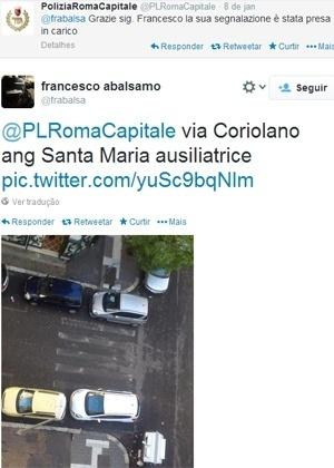 Usuário fez denúncia referente a carros parados sobre a faixa de pedestre; muitos também enviam fotos - Reprodução/Twitter