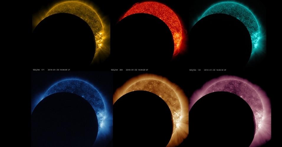 30.jan.2014 - Arco-íris de cores mostra o trânsito da Lua na frente do Sol como é visto pelo Observatório Solar Dinâmico (SDO) em diversos comprimentos de onda de luz. Este foi o eclipse mais longo em 4 anos de missão, durou 2,5 horas