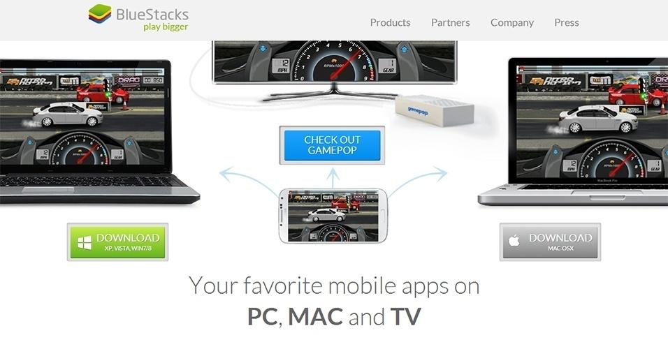 Para usar o Whatsapp no computador, será necessário baixar um emulador do Android (programa que ?simula? o sistema operacional). Acesse http://www.bluestacks.com e clique no botão verde de download para baixar o emulador de Android para Windows. Caso possua um computador com Mac OSX, clique no botão cinza. Neste tutorial, optou-se pela versão para o sistema de Microsoft, mas a alternativa para Apple é bem semelhante