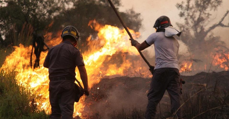 2.fev.2014 - Bombeiros combatem incêndio em mata no início da noite deste domingo (2), no centro de Embu das Artes (SP)