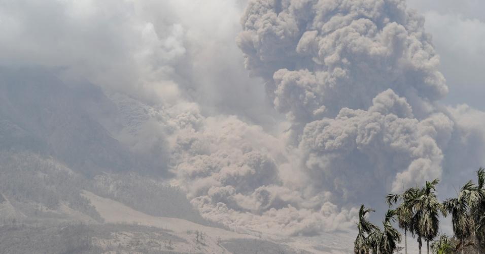 3.fev.2014 - O monte Sinabung expele fumaça espessa e cinza quente de seu vulcão em Karo, na Indonésia, nesta segunda-feira (3). Pelo menos 15 pessoas morreram, depois que o vulcão entrou em erupção. Autoridades indonésias procuram corpos nas cinzas
