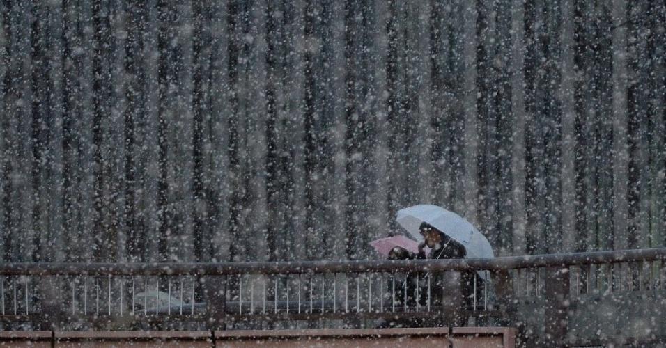 4.fev.2014 - Pessoas caminham por uma passarela, em meio a neve que atinge a cidade de Tóquio, no Japão