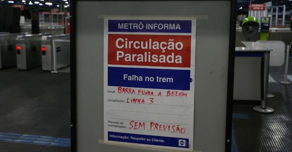 5.fev.2014 - Estação da Barra Funda fica fechada na noite de terça-feira (4) após o dia de caos no metrô de São Paulo