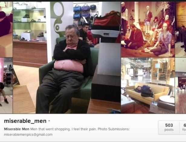 Conta no Instagram retrata homens entediados esperando mulheres fazerem compras
