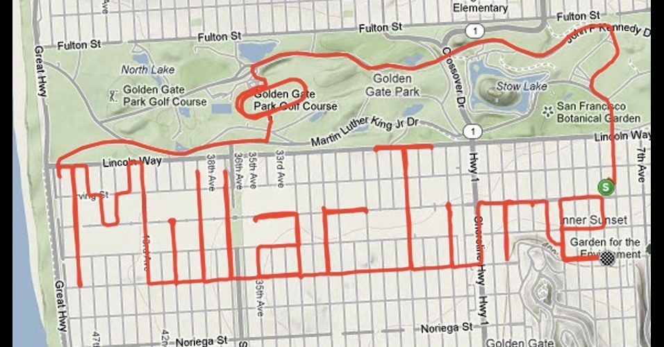 Ciclistas ''pedalam'' desenhos em mapas de aplicativos de rotas e GPS
