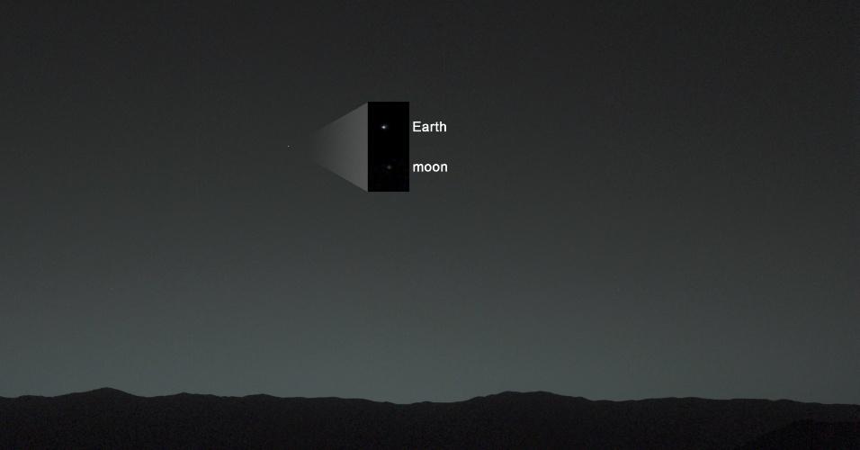 7.fev.2014- TERRA VISTA DE MARTE - Pela primeira vez, o robô Curiosity que está em Marte fotografou a Terra e a Lua no horizonte no céu de uma noite no planeta vermelho