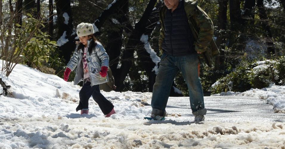 9.fev.2014 - Japoneses cruzam parque coberto de neve em Tóquio (Japão) após forte nevasca