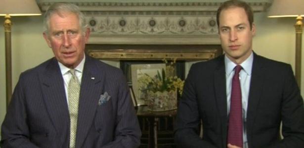 O príncipe Charles e seu filho mais velho, William, da Inglaterra