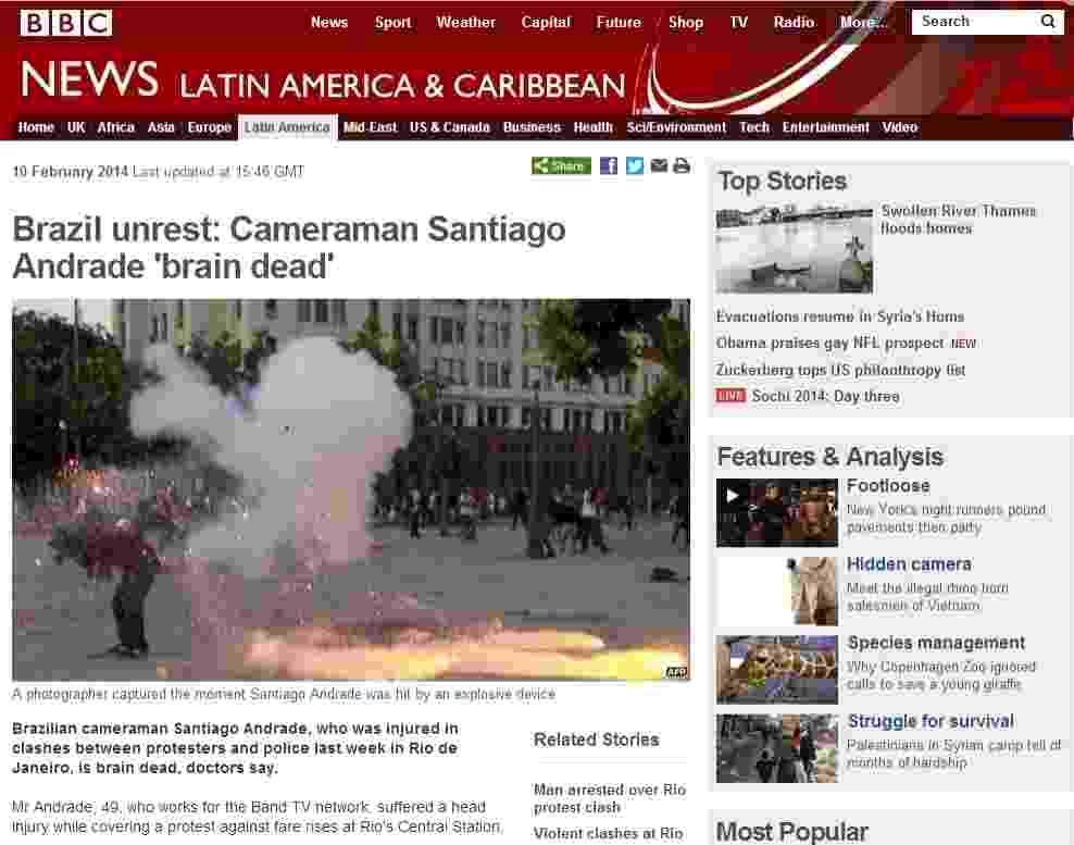 10.fev.2014 - O portal de notícias britânico BBC deu destaque nesta segunda-feira (10) para a morte cerebral do cinegrafista da TV Bandeirantes Santiago Andrade, 49, alvejado por um rojão durante os protestos contra o aumento das passagens de ônibus, no Rio de Janeiro, na semana passada - Reprodução