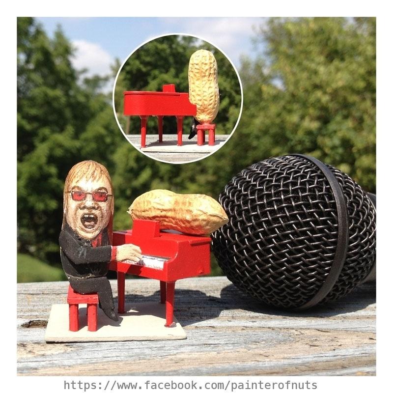 12.fev.2014 - Caricatura do cantor Elton John feita em casca de amendoim, trabalho do artista norte-americano Steve Casino, conhecido como o