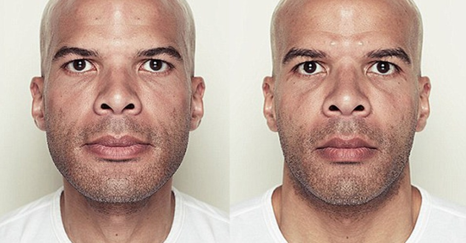 11.fev.2014 - Em seu site, o fotógrafo Alex John Beck explica que os rostos simétricos nos parecem estranhos porque é natural ao olhar humano que as pessoas tenham lados diferentes.  Ele fotografou várias pessoas e montou retratos primeiro reproduzindo o lado direito e depois o lado esquerdo. Os retratos de rostos simétricos revelam rostos muito diferentes dos originais. Para ter uma ideia de como as pessoas são na realidade, basta cobrir a área central para ver as duas metades