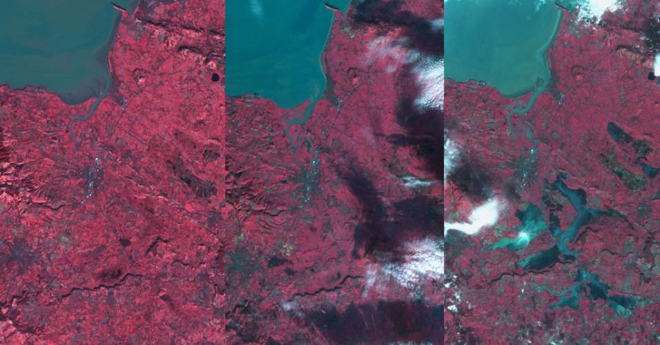 12.fev.2014 - INGLATERRA SOB AS ÁGUAS - Esta sequência de 3 imagens de satélites da Agência Espacial Britânica registra a inundação da região de Somerset (Reino Unido) em janeiro do ano passado. Imagens como estas podem ser usadas para desenvolver estudos que ajudem a entender as inundações que assolam a Inglaterra atualmente
