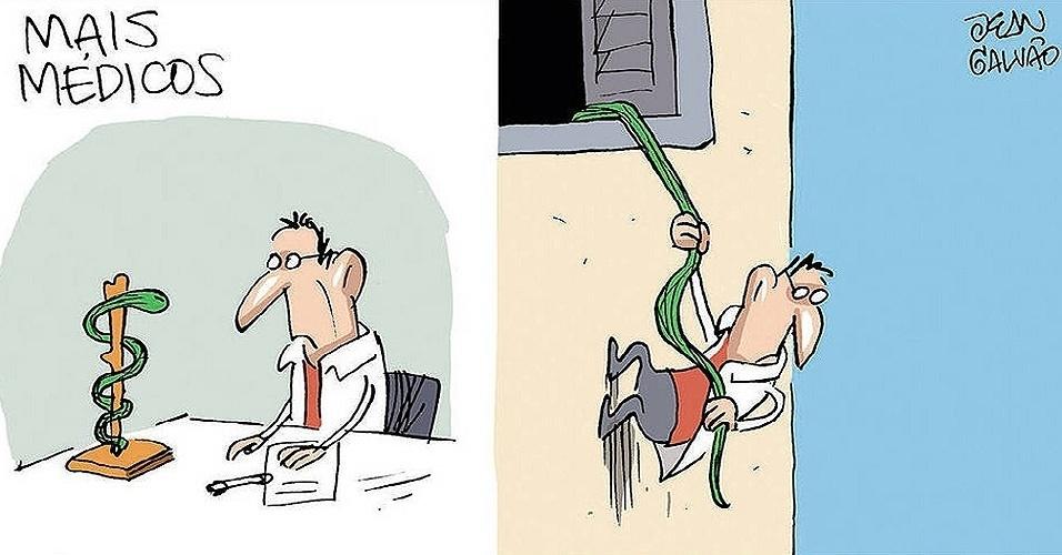 14.fev.2014 - A charge de Jean Galvão, publicada na Folha de S.Paulo, ironiza o fato de alguns cubanos do Mais Médicos terem aproveitado o programa para fugir do país de origem