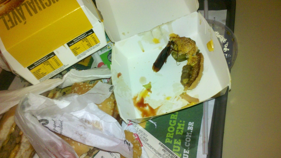 14.fev.2014 - Casal diz ter encontrado barata em hambúrguer do McDonald's em Santos