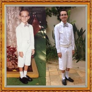 20.fev.2014 - Gustavo Viotto também entrou na brincadeira e, nas suas últimas férias, em dezembro de 2013, reproduziu registros feitos na sua infância, usando roupas bastante parecidas com as utilizadas na época