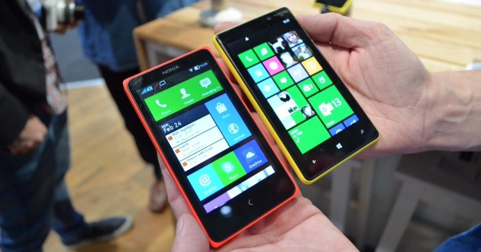 24.fev.2014 - Compatíveis com dois chips, os Nokia X (89 euros; cerca de R$ 287) e X+ (99 euros; cerca de R$ 319) têm tela sensível de 4'', câmera de 3 megapixels e 4 GB de armazenamento. Eles rodam uma versão modificada do sistema operacional Android, apesar de as especificações não citarem a plataforma concorrente ao Windows Phone