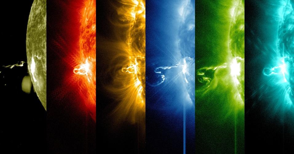 24.fev.2014- No dia 24 de fevereiro de 2014 o Sol emitiu significante radiação, como visto na imagem do Observatório Solar Dinâmico (SDO), em diversos comprimentos de luz. Aqui estão os primeiros momentos desta erupção classificada em categoria X, a mais forte, que pode gerar interferência em satélites GPS e de comunicação, além de tempestade de radiação. Entretanto, ela não passa pela atmosfera da Terra. A erupção é vista como um ponto brilhante do lado esquerdo do Sol