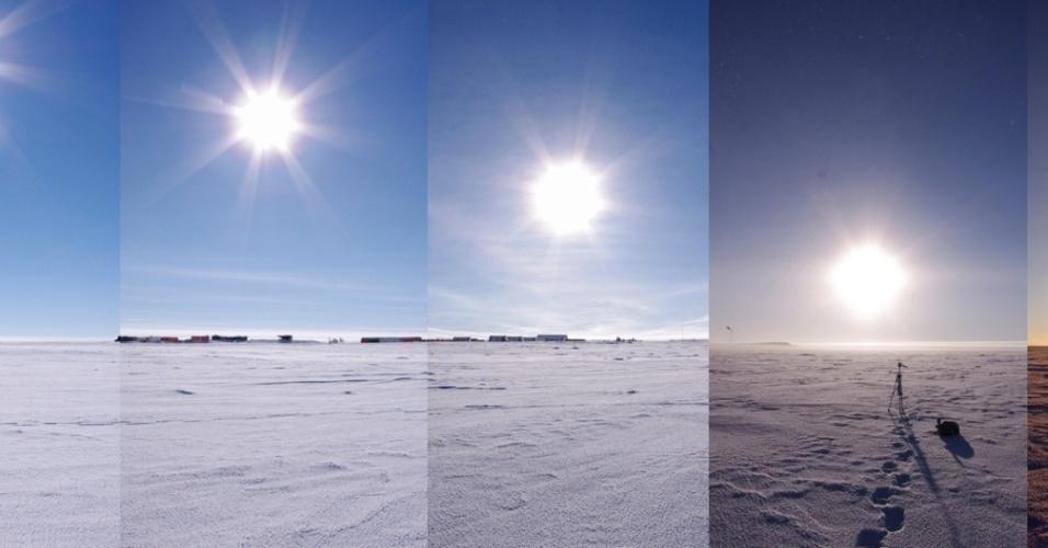 25.fev.2014 - Já imaginou como seria o nascer e o pôr do sol na Antártida? O cientista Eoin Macdonald-Nethercott da estação de pesquisa Concordia registrou 24 horas do horizonte do continente gelado nesta panorâmica. No verão, o sol nunca se põe, já no inverno o sol não é visto por meses. Mas a temperatura nunca é superior a 0°C, com temperaturas de ?60°C no inverno