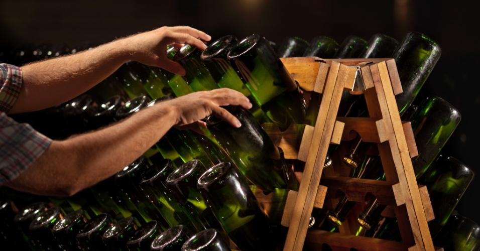 Nestes suportes de madeira a garrafa permanecerá por, em média, um ano. Para que os resíduos da levedura desçam à boca, os produtores precisam girar a garrafa uma ou duas vezes ao dia. Todas as garrafas tem marcações no fundo e é preciso dar 1/4 de volta