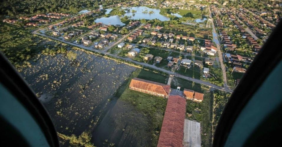 26.fev.2014 - Vista de Trinidad, na região de Beni, na Bolívia. As fortes chuvas na região causaram enchentes em todo o nordeste do país