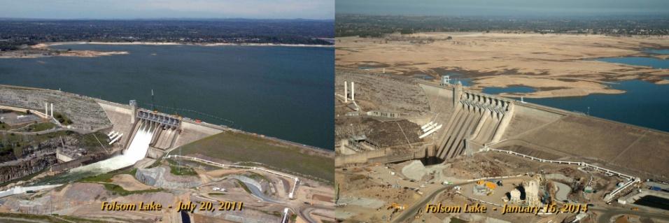 26.fev.2104 -Não é só no Brasil que a seca tem afetado os reservatórios. A seca na Califórnia também está grave, como é possível ver nesta imagem do lago Folsom, um reservatório no nordeste do Estado, a 40 quilômetros de Sacramento. Em julho de 2011, à esquerda, o lago da represa tinha 97% do total de sua capacidade e 130% da sua capacidade média para a data. Em 16 de janeiro de 2014, à direita, o lago estava com 17% da capacidade e 35% da média histórica