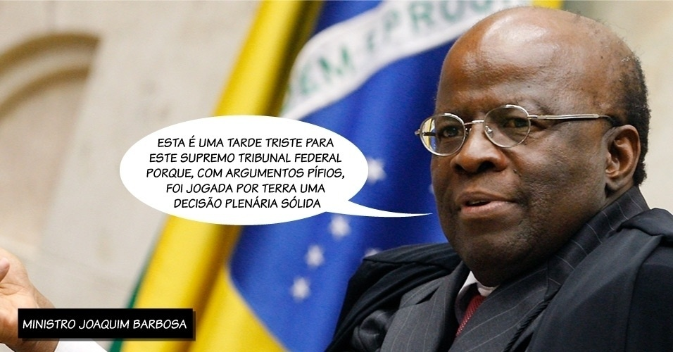 27.fev.2014 - O presidente do STF (Supremo Tribunal Federal) o ministro Joaquim Barbosa criticou a decisão da corte, que por maioria de votos absolveu oito réus do mensalão do crime de formação de quadrilha.