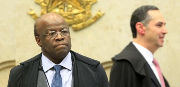 Joaquim Barbosa, presidente do STF (Supremo Tribunal Federal), no início da sessão desta quinta-feira - Bruno Spada/UOL