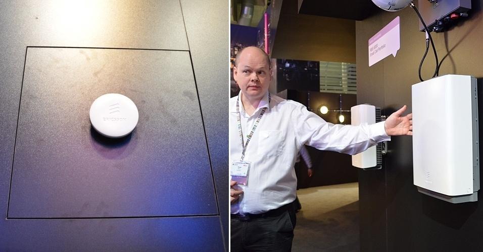 O sistema de rádio Dot (esq), da Ericsson, promete ampliar a cobertura de internet móvel dentro de prédios. Ele é menor do que uma estação tradicional (dir) utilizada com este mesmo objetivo, o que facilita sua instalação em ambientes internos