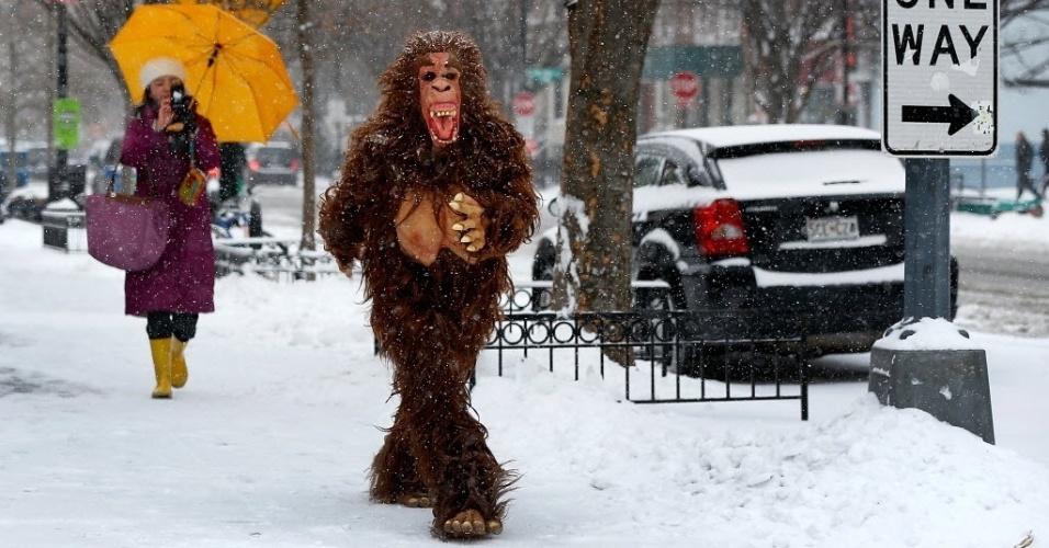 3.mar.2014 - Homem vestido com uma fantasia de gorila caminha por uma rua coberta por neve nesta segunda-feira (2), em Washington, nos Estados Unidos. A área de Washington foi atingida por tempestades de neve durante todo o inverno