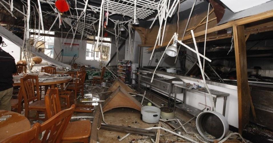 3.mar.2014 - Uma explosão em um restaurante na cidade de Dongguan, no sul da China, deixou uma pessoa morta e outras 13 feridas