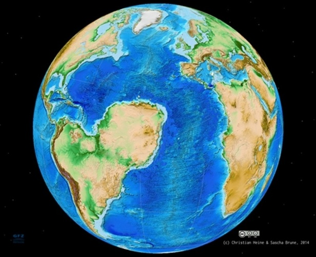 4.mar.2014- CONTINENTES BEM DIFERENTES - A ruptura do supercontinente gigante Gondwana há 130 milhões de anos poderia ter levado formação completamente diferente dos continentes Africanos e da América do Sul, com a região do deserto do Saara junto com as Américas e um oceano abaixo dela (como na imagem). As projeções foram feitas com o uso de modelos numéricos em três dimensões e de placas tectônicas. Por centenas de milhões de anos, os continentes América do Sul, África, Antártida, Austrália e Índia estavam unidos no supercontinente Gondwana. O continente então se rompeu na fenda correspondente ao Atlântico Sul formando uma bacia oceânica, mas outra fenda, na África, ficou presa. A pesquisa foi para entender porque isto aconteceu