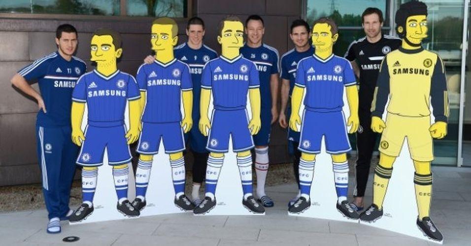 Jogadores do clube de futebol Chelsea versão 'Os Simpsons'