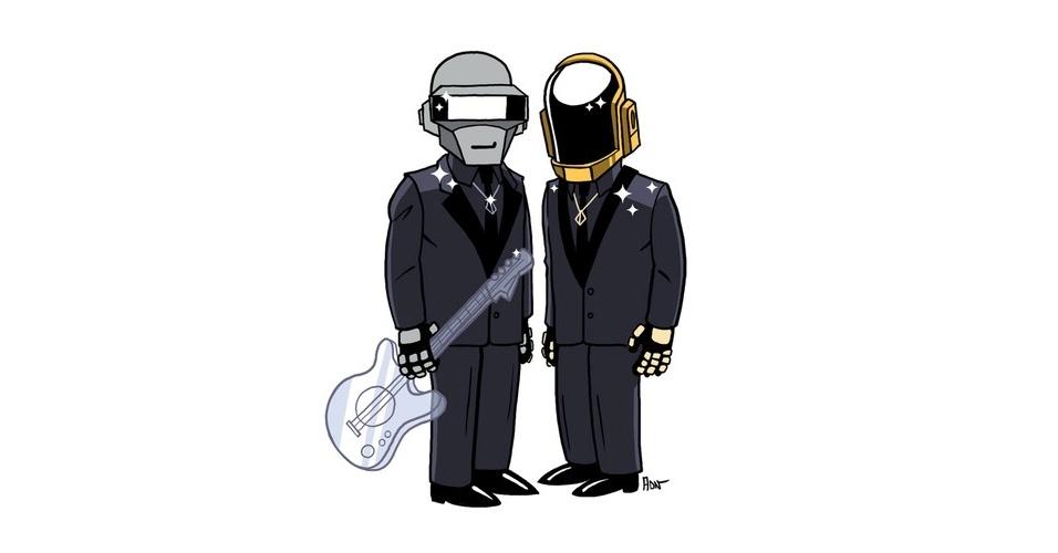 Músicos da banda 'Daft Punk' versão 'Os Simpsons'