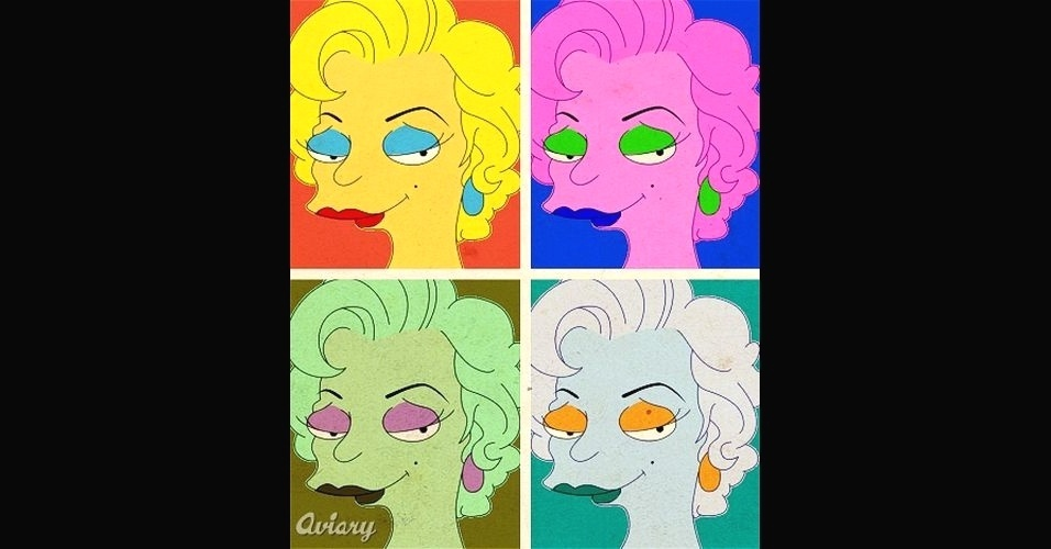 Obra do artista Andy Warhol, que registrou a atriz Marylin Monroe, versão 'Os Simpsons'