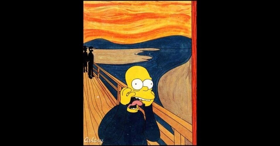 Quadro 'O Grito' versão 'Os Simpsons'