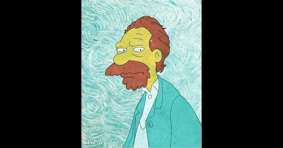 Retrato do artista Van Gogh versão 'Os Simpsons'