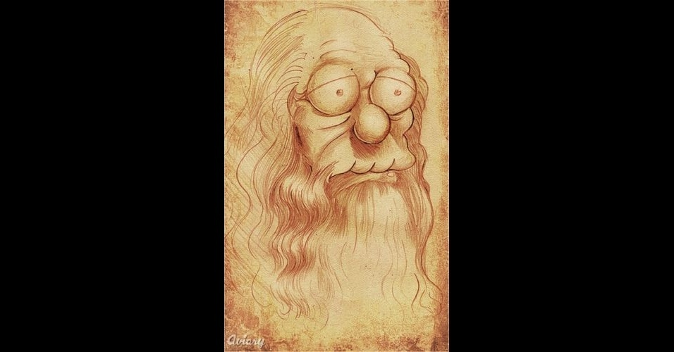 Retrato do pintor Leonardo Da Vinci versão 'Os Simpsons'
