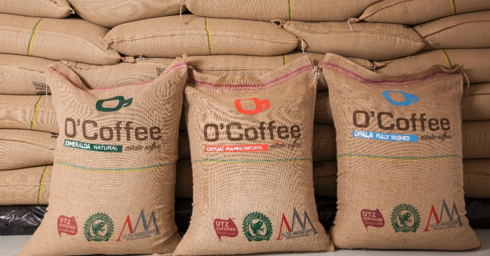 sacas de café na empresa O'Coffee, em Pedregulho (SP)