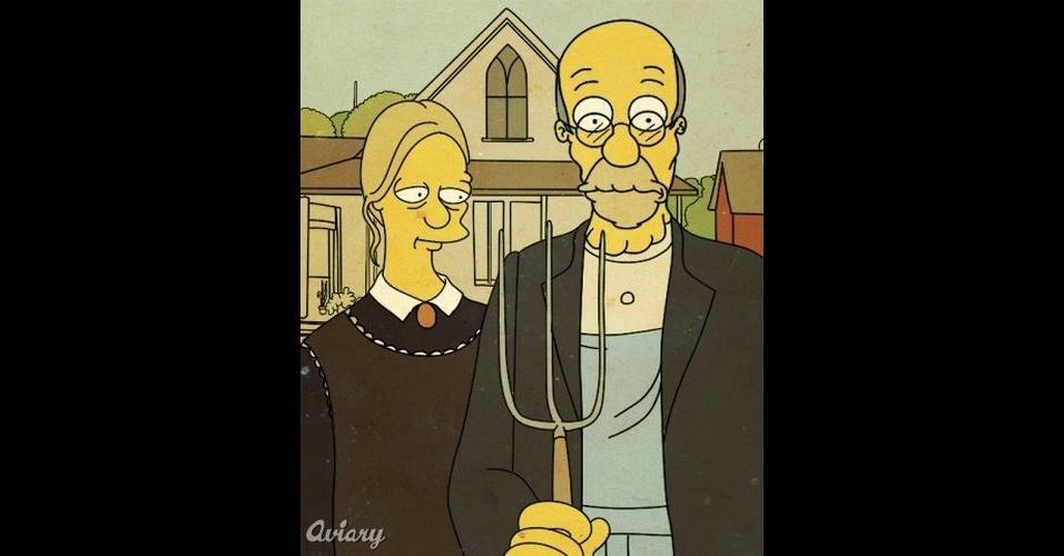Versão 'Os Simpsons' da pintura 'American Gothic'