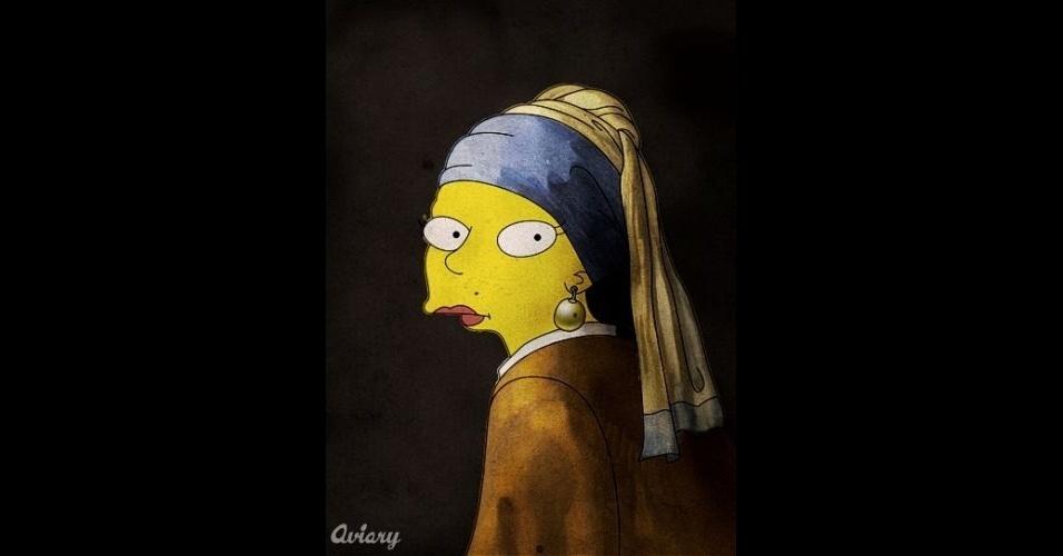 Versão 'Os Simpsons' da pintura 'Moça com o Brinco de Pérola', de Johannes Vermeer